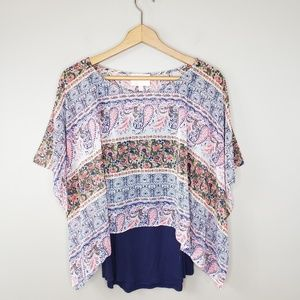 Skies Are Blue   Layered Split Back Blouse